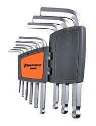 Métrique standard tête à bille acier bouclier à six angles ensemble de 9/1 sets