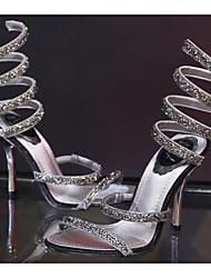 Women's Heels Comfort Cowhide Silk Spring Casual Comfort Sliver Flat