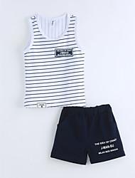 Boys' Striped Sets,Cotton Summer Short Sleeve Clothing Set