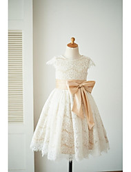 A-Line Knee Length Flower Girl Dress