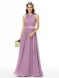 2017 LAN TING BRIDE Floor-length Jewel Bridesmaid Dress - Beautiful Back Sleeveless Chiffon
