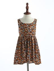 Girl's Print Lattice Dress,Cotton Summer Sleeveless