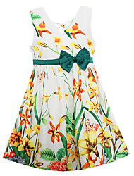 Girls Fashion Dress Green Orchid Flower Print Bow Party Princess Wedding Kids Children Clothes