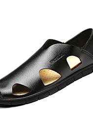 Hombre Zapatos de taco bajo y Slip-Ons PU Verano Paseo Combinación Tacón Plano Negro Amarillo Marrón 5 - 7 cms