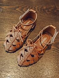 Girls' Sandals Flower Girl Shoes PU Leatherette Spring Casual Walking Magic Tape Flat Heel Brown Beige Black Flat