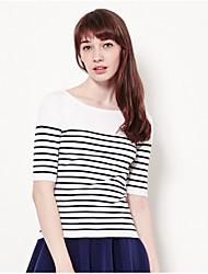 Tee-shirt Femme,Couleur Pleine Rayé Bureau/Carrière Décontracté simple Manche moyenne Col Arrondi Coton