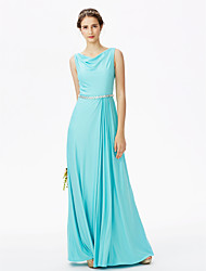 2017 LAN TING BRIDE Floor-length Cowl Bridesmaid Dress - Open Back Elegant Sleeveless Jersey