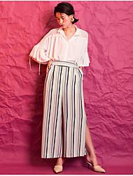 Feminino Simples Cintura Alta Inelástico Perna larga Calças,Largo Listrado