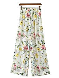 Feminino Simples Cintura Alta Inelástico Perna larga Calças,Perna larga Floral