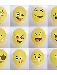 100 / Package 12 Inch Expression Balloon Round Latex Balloon Filled Yellow Cartoon Expression Smiling Face