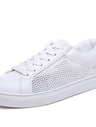 Women's Sneakers Comfort Fabric PU Spring Summer Fall Winter Athletic Casual Outdoor Walking Comfort Hollow-out Flat Heel White Flat