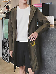 Men's Casual Simple Summer Trench Coat,Solid Hooded Long Sleeve Long Polyester