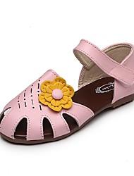 Girls' Sandals Light Soles PVC Leatherette Summer Fall Casual Dress Walking Light Soles Flower Flat Heel Blushing Pink Beige Under 1in