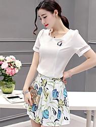 Women's Homecoming A Line Dress,Solid Floral U Neck Knee-length Short Sleeve Chiffon Satin Summer Mid Rise Inelastic ExtraSheer