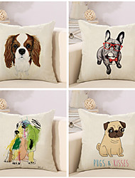Set Of 4 Personality Dog Printing Pillow Cover 45*45Cm Sofa Cushion Cover Classic Pillow Case
