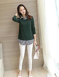 Feminino Padrão Carregam,Casual Sólido Colarinho de Camisa Manga Longa 100% algodão Outono Inverno Média Micro-Elástica