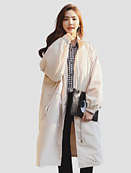 Women's Daily Casual Spring/Fall Trench Coat,Solid Stand Long Sleeve Long Cotton Blend
