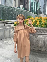 Women's Going out A Line Dress,Solid Round Neck Knee-length Long Sleeve Cotton Summer Low Rise Micro-elastic Medium