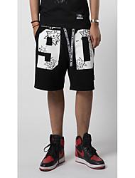 Pánské Jednoduchý Aktivní strenchy Volné Kalhoty Volný Středně vysoký pas Čistá barva Velkoformátové Jednobarevné dopis a číslo