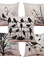 Set of 5 Black and White Rhododendrons Pattern  Linen Pillowcase Sofa Home Decor Cushion Cover (18*18inch)