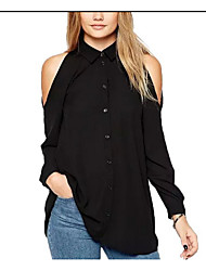 Women's Going out Sexy Blouse,Solid Shirt Collar Long Sleeve Silk