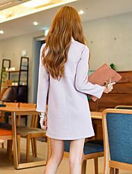 Women's Casual/Daily Loose Dress,Striped Shirt Collar Mini Long Sleeve Cotton Summer Mid Rise Micro-elastic Medium