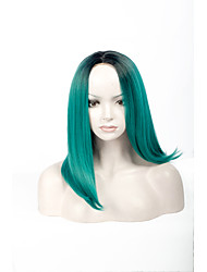 Fashion Black To Green Color Straight BOBO Wig For Afro European Synthetic Wig