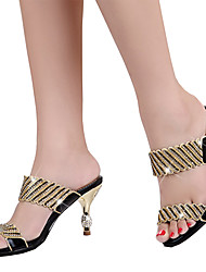Mujer Sandalias Microfibra Verano Otoño Paseo Pedrería Purpurina Tacón Plano Tacón Stiletto Dorado Negro Morado 5 - 7 cms