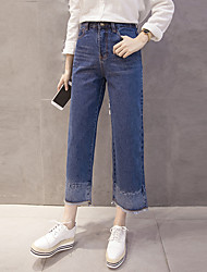 Sign 2016 Winter new Korean version was thin stitching loose denim straight jeans wide leg trousers