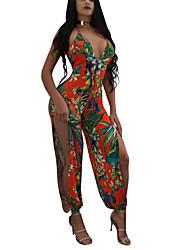 Для женщин Секси Винтаж Богемный На каждый день Для клуба Праздник Комбинезоны,С высокой талией ТонкиеПраздник Мода Аппликация С