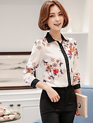 Women's Daily Simple Blouse,Floral Shirt Collar Long Sleeve Polyester