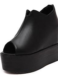 Damen Sandalen PU Sommer Reißverschluss Keilabsatz Schwarz 10 - 12 cm