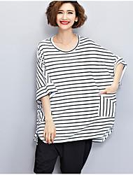 T-shirt Da donna Casual SempliceA strisce Rotonda Cotone Mezze maniche