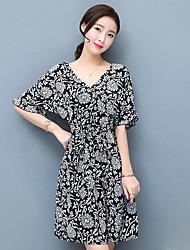 Ample Robe Femme Sophistiqué,Imprimé Col en V Au dessus du genou Manches Courtes 70% polyester 30% rayonne Eté Taille Haute Non Elastique