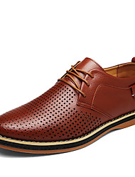 Men's Oxfords Gladiator PU Spring Fall Casual Outdoor Gladiator Lace-up Flat Heel Black Brown Blue Flat