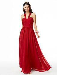 A-Line Straps Floor Length Chiffon Bridesmaid Dress with Sash / Ribbon Pleats by LAN TING BRIDE®
