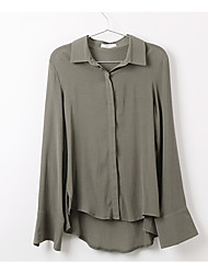 Women's Formal Simple Shirt,Solid Shirt Collar Long Sleeve Cotton