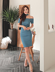 Women's Party Special Occasion Sexy Sophisticated Bodycon Sheath Dress,Solid Halter Above Knee Short Sleeve Others Summer Mid Rise