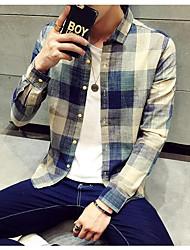 Masculino Camisa Social Temática AsiáticaGeométrica Poliéster Colarinho Chinês Manga Longa
