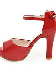 Women's Sandals Slingback Leatherette Summer Wedding Casual Bowknot Chunky Heel Almond Red Black 3in-3 3/4in