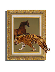3D The Tiger And The Horse Night Lights Wall Poster Adhered PVC  Decorative Skin Wall Stickers  for Bedroom