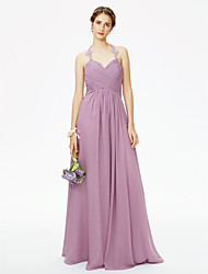 2017 LAN TING BRIDE Floor-length Halter Bridesmaid Dress - Beautiful Back Sleeveless Chiffon