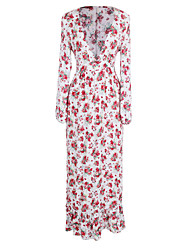 ANGELL  Women's Going out Casual/Daily Beach Street chic A Line DressFloral Deep V Maxi Long Sleeve Cotton Polyester Summer Fall Mid Rise