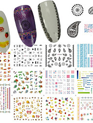 12Design/pcs Nail Art 3D Sticker Colorful Gorgeous Image Design Nail Water Transfer Sticker For Manicure Beauty Decoration E457-467