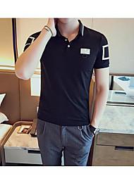 Herren Muster Einfach Normal Polo,Ständer Frühling Kurzarm Baumwolle Mittel