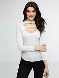Damen Solide Sexy / Einfach Klub / Lässig/Alltäglich T-shirt,Rundhalsausschnitt Frühling / Herbst Langarm Grau Polyester Mittel