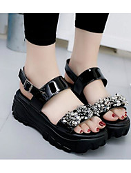 Girls' Flats First Walkers PU Spring Fall Casual Walking Magic Tape Low Heel Silver Black Flat