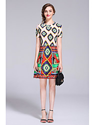 Women's Daily Casual Going out Sheath Dress,Print Round Neck Above Knee Short Sleeve Silk Polyester Taffeta Spring Summer Mid Rise