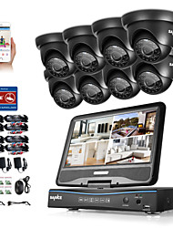 SANNCE® 8CH 8PCS 720P LCD DVR Weatherproof Home Surveillance Security System Supported Analog AHD TVI IP Camera