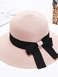 Straw Hat Womens' Bow Sun Hat Summer Folding Color Block Outdoor Tourism Beach Wide Brim Hat Peaked Cap